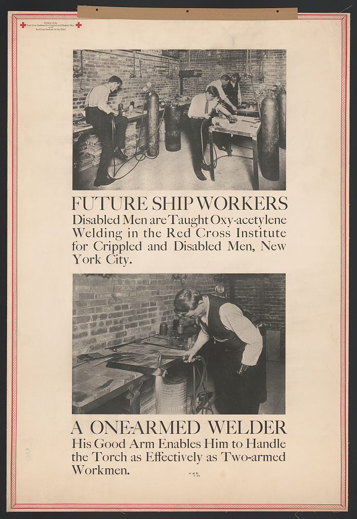 American Red Cross. Future Ship Workers—A One-Armed Welder, 1919. Halftone poster. Prints and Photographs Division, Library of Congress (182.01.00)
